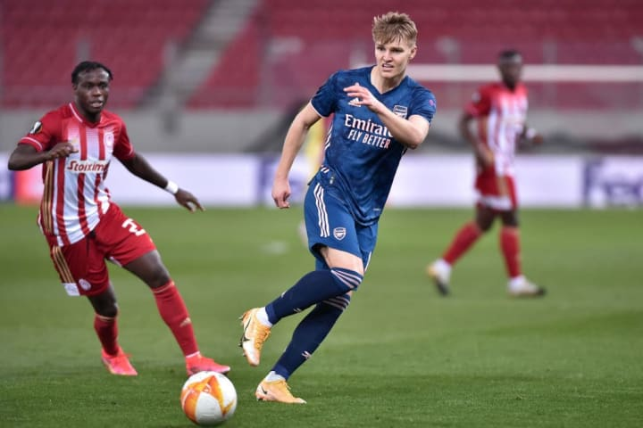 Martin Odegaard's sensational first-half strike handed Arsenal the lead against Olympiacos