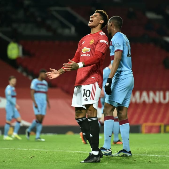 Manchester United's Marcus Rashford missed a glorious opportunity in the first half against West Ham United